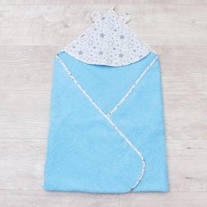 Полотенце детское с уголком AmaroBaby CUTE LOVE ЗВЕЗДОПАД (серый/голубой), 90х90 см.