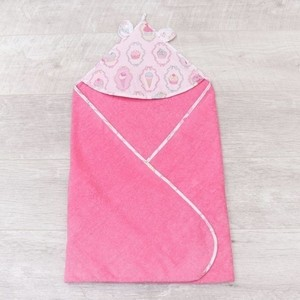 Полотенце детское с уголком AmaroBaby CUTE LOVE ПИРОЖЕНКИ (розовый), 90х90 см. cute love