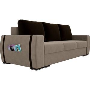 Прямой диван Лига Диванов Брион велюр бежевый, подушки коричневые