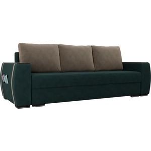 Прямой диван Лига Диванов Брион велюр бирюза, подушки бежевые