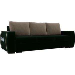 Прямой диван Лига Диванов Брион велюр зеленый, подушки бежевые подушки