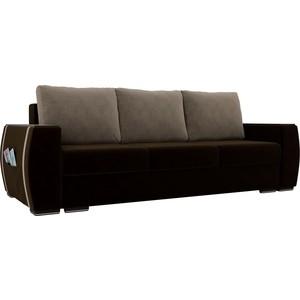 Прямой диван Лига Диванов Брион велюр коричневый, подушки бежевые