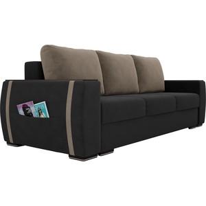Прямой диван Лига Диванов Брион велюр серый, подушки бежевые подушки
