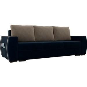Прямой диван Лига Диванов Брион велюр синий, подушки бежевые