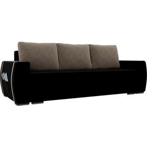 Прямой диван Лига Диванов Брион велюр черный, подушки бежевые