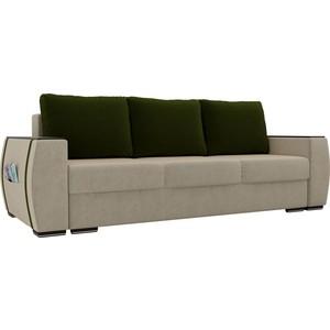 Прямой диван Лига Диванов Брион микровельвет бежевый, подушки зеленые
