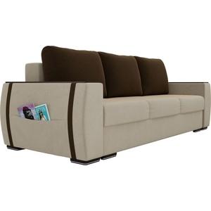 Прямой диван Лига Диванов Брион микровельвет бежеый, подушки коричневые