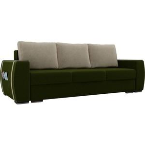 Прямой диван Лига Диванов Брион микровельвет зеленый, подушки бежевые