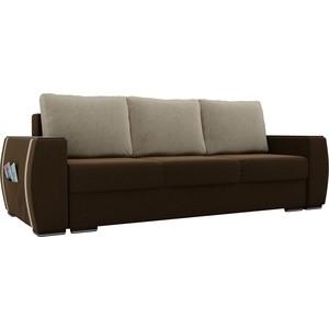 Прямой диван Лига Диванов Брион микровельвет коричневый, подушки бежевые