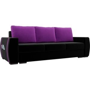 Прямой диван Лига Диванов Брион микровельвет черный, подушки фиолетовые