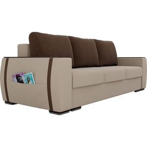 Прямой диван Лига Диванов Брион рогожка бежевый, подушки коричневые