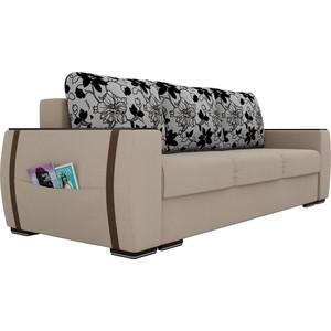 Прямой диван Лига Диванов Брион рогожка бежевый, подушки рогожка на флоке фото