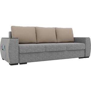 Прямой диван Лига Диванов Брион рогожка серый, подушки бежевые