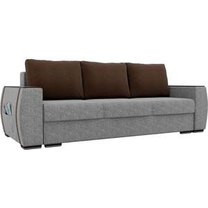 Прямой диван Лига Диванов Брион рогожка серый, подушки коричневые подушки