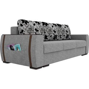 Прямой диван Лига Диванов Брион рогожка серый, подушки на флоке
