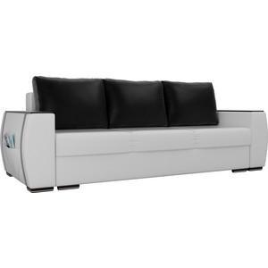 Прямой диван Лига Диванов Брион экокожа белый, подушки черные