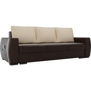 Прямой диван Лига Диванов Брион экокожа коричневый, подушки бежевые подушки