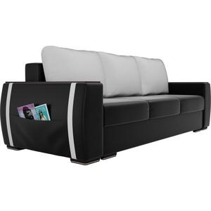 Прямой диван Лига Диванов Брион экокожа черный, подушки белые