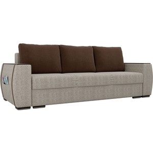 Прямой диван Лига Диванов Брион корфу 02, подушки коричневые подушки