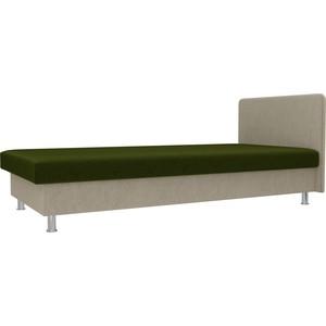 Кровать Лига Диванов Мальта микровельвет зеленый/бежевый