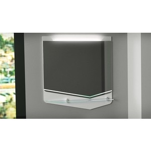 Зеркало Velvex Crystal 60 с подсветкой, полочка, белый (zkCUB.60-21)