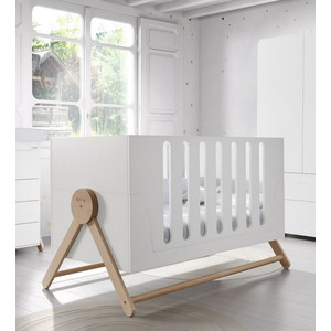 Кроватка Micuna Swing Big Relax 140*70 white/water wood