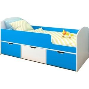 Кровать Ярофф Малыш мини белое дерево/голубой