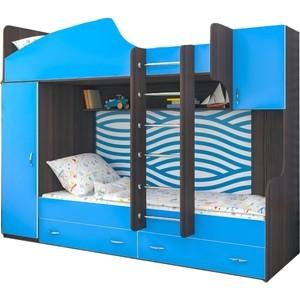 Кровать Ярофф Юниор 2 бодага темный/голубой