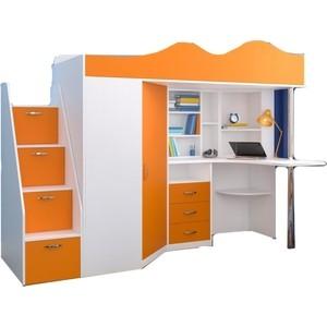 Кровать-чердак Ярофф Пионер белое дерево/оранжевый