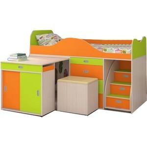 Кровать-чердак Ярофф Малыш люкс дуб молочный/оранж + лайм