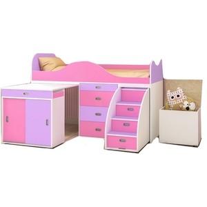 Кровать-чердак Ярофф Малыш люкс дуб молочный/ирис + розовый