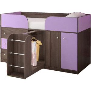 Кровать-чердак Ярофф Малыш- 4 бодега темный/ирис