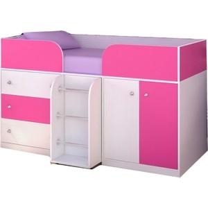 Кровать-чердак Ярофф Малыш- 4 белое дерево/розовый