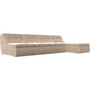 Угловой модульный диван Лига Диванов Холидей велюр бежевый угловой модульный диван лион