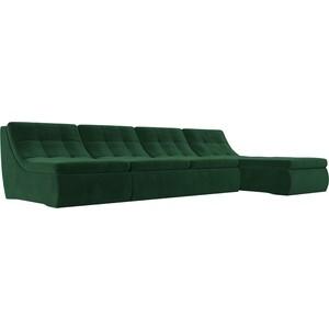 Угловой модульный диван Лига Диванов Холидей велюр зеленый