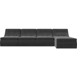 Угловой модульный диван Лига Диванов Холидей велюр серый фото 2