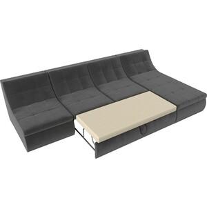 Угловой модульный диван Лига Диванов Холидей велюр серый фото 4