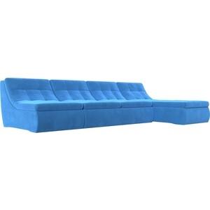 Угловой модульный диван Лига Диванов Холидей велюр синий угловой модульный диван лион