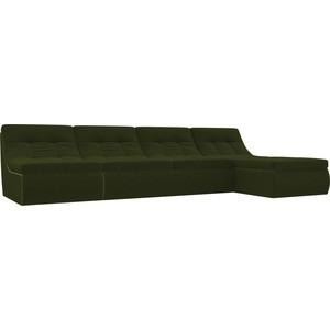 Угловой модульный диван Лига Диванов Холидей микровельвет зеленый