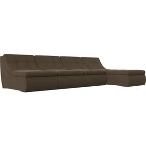 Угловой модульный диван Лига Диванов Холидей рогожка коричневый