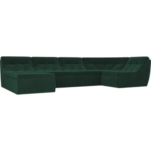 Модульный диван Лига Диванов Холидей велюр зеленый п-образный