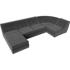 Модульный диван Лига Диванов Холидей велюр серый п-образный