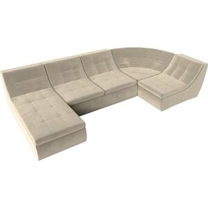 Модульный диван Лига Диванов Холидей микровельвет бежевый п-образный