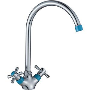 Смеситель для кухни Decoroom хром/синий (DR46028-Blue)