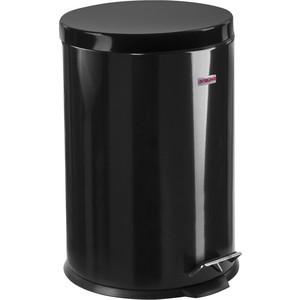 Ведро-контейнер для мусора (урна) с педалью Лайма Classic черное, глянцевое, металл, со съемным внутренним ведром, 20 л 604945