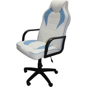 Кресло Союз мебель Геймер комбинированное, экокожа бело-голубая