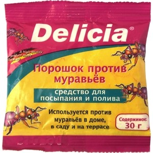Порошок Delicia от муравьёв, во влагостойком пакете, 30 г