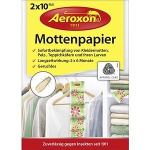 Листы Aeroxon от моли, меховых и ковровых жучков, бумажные, делящиеся, без запаха, 2 ленты по 10 листов