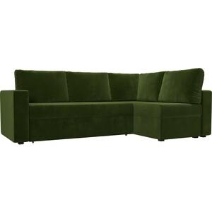 Угловой диван Лига Диванов Оливер микровельвет зеленый правый угол угловой диван лига диванов оливер микровельвет черный левый угол