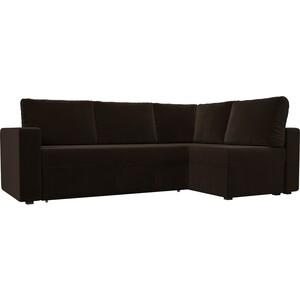 Угловой диван Лига Диванов Оливер микровельвет коричневый правый угол угловой диван лига диванов оливер микровельвет черный левый угол